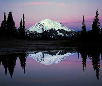 Mt Rainier at night